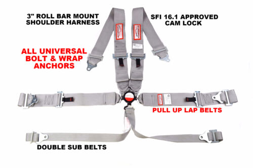 """RACING HARNESS PULL UP 6 POINT ROLL BAR MOUNT 3/"""" CAM LOCK SFI 16.1 GRAY"""