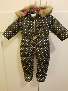 2b636398a Juicy Couture black and white polka dot snowsuit bunting jacket size ...