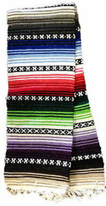 Image Is Loading Rainbow Striped Super Heavy Falsa Mexican Blanket Decor