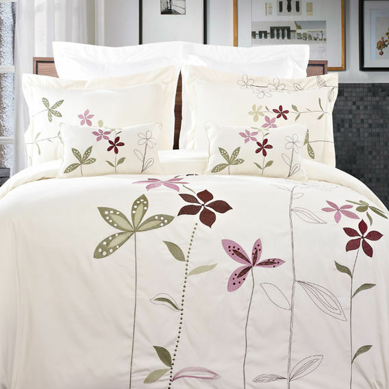 5pc Floral Embroidered Duvet Cover Bedding Set AND Pillows - ALL SIZES - 2 COLOR