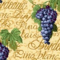 Bunches Of Grapes & Wine Names On Beige B/g-bty-e.e. Schenk-pinot Grigio, Etc.
