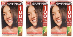 3-x-Garnier-100-Farbe-permanente-Haar-creme-Farbstoff-401-intensiv-braun
