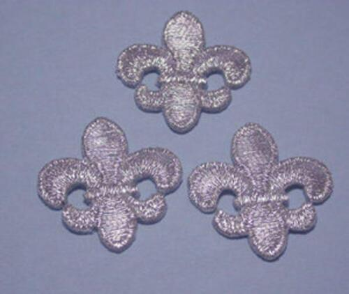 Fleur de Lys Iron On Appliques in Met Gold,Met Silver or Black x 3