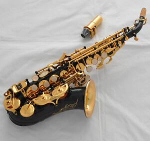 high grade black gold bell curved soprano saxophone bb sax high f with case ebay. Black Bedroom Furniture Sets. Home Design Ideas