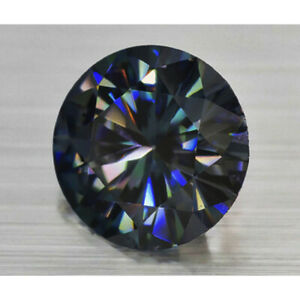 Loose Moissanite Black Blue Round Diamond Lab Created 6.00 MM Best For Jewelry