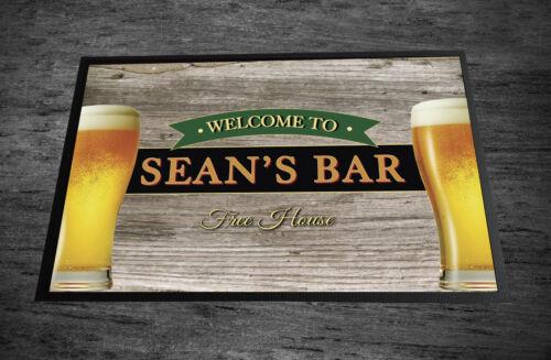 Personnalisé Tout Nom effet bois verres à bière Home Bar-porte tapis 60 x 40 cm