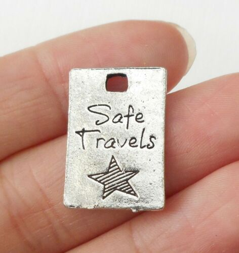 6pcs-safe travels charm silver tone travel charm,vacation charm,rectangle tag