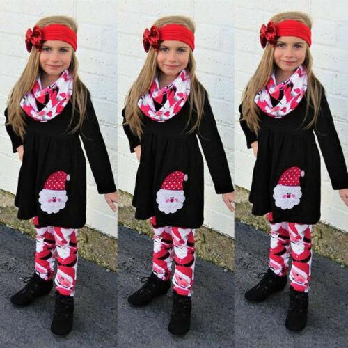 3 PCS Christmas Children Kids Girls Cartoon Santa Dress+Pants+Headbands Sets