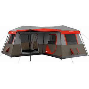 Details about Large Camping Tent 12 Person 3 Rooms Instant Red 16'x16' Family Huge Cabin River