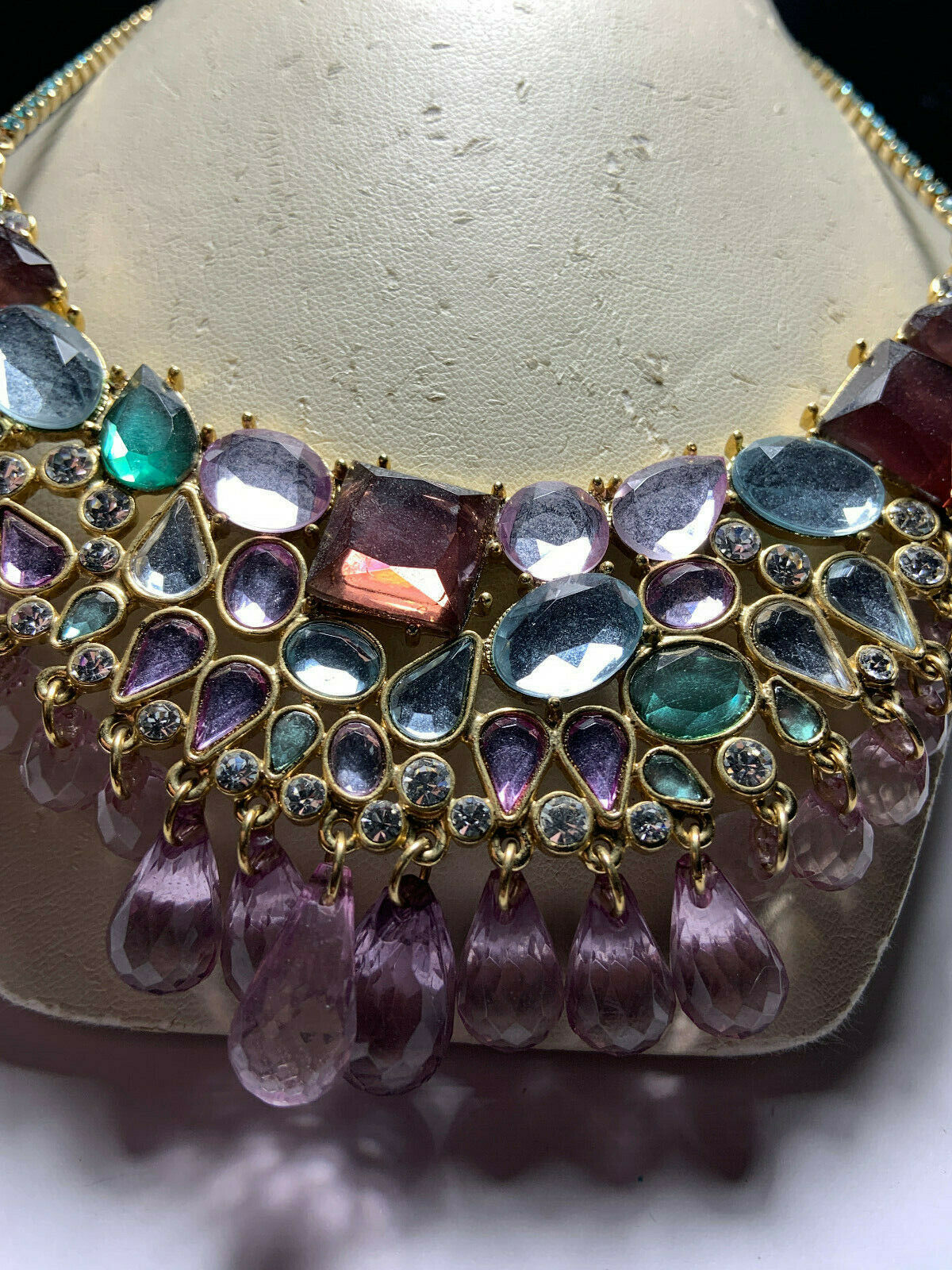 Vintage Arnold Scaasi gold tone multicolored hang… - image 4