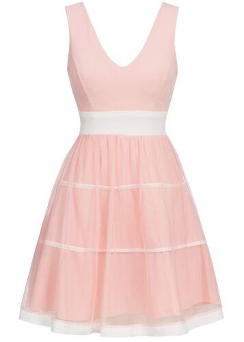 50/% OFF B17036109 Damen Violet Kleid kurz Brustpolster Tüll Streifen Zipper rosa