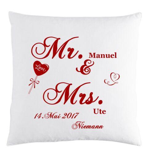 und /& Mrs personalisiert WUNSCH Namen /& Datum Geschenk Hochzeit Kissen Mr
