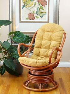 Details about Java Rattan Wicker Swivel Rocking Chair Handmade with Light Brown Color Cushion
