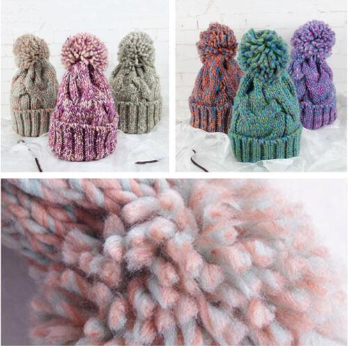 Braided Crochet Knit Beanie Beret Ski Ball Cap Baggy Unisex Winter Warm Hat Cap