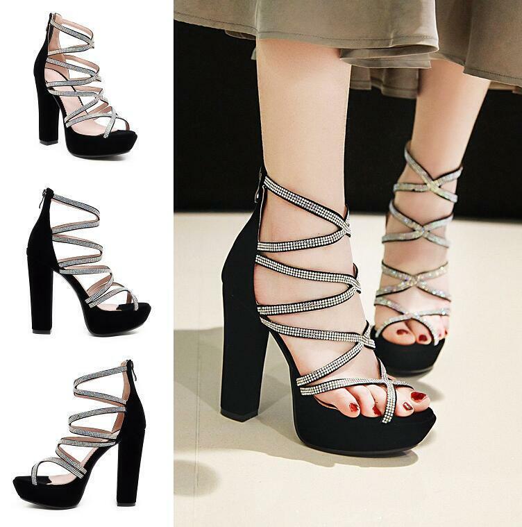 Mujeres rhionestone Correas Cruzadas Bloque Gamuza Cremallera Botín Sandalias Zapatos Puntera Abierta