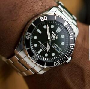 Seiko-5-Sports-Black-Sea-Urchin-Automatic-Men-039-s-Watch