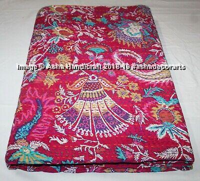 Indian Handmade Embroidery Queen Kantha Quilt Throw Elephant Mandala Bedspread