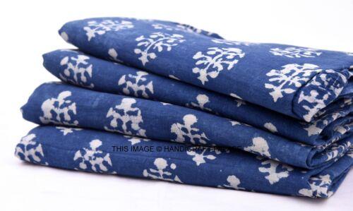 2.5 Yard Indian Cotton Indigo Blue Fabric Jaipuri Hand Block Floral Print Fabric