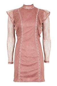 TOPSHOP-Ladies-Gothic-Ruffle-Stud-Mini-Dress-Pink-UK-14-EU-42-US-10-RRP-45