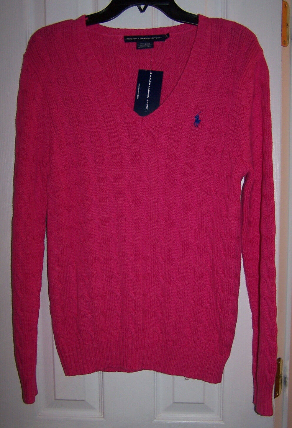 RALPH LAUREN SPORT LONG SLEEVE CABLE CABLE CABLE KNIT GRAND PINK  SWEATER TOP SZ XL NWT d7e2f9