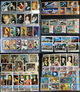 Worldwide-Stamp-Collection-Used-10-Different-Sets-of-Art-Sports-Space