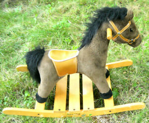 Details About Melissa Doug Plush Rock And Trot Rocking Horse Saddle Bridle Hardwood Rocker