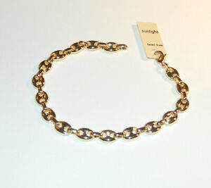 BRACELET-MAILLE-GRAIN-DE-CAFE-PLAQUE-OR-NEUF-3289