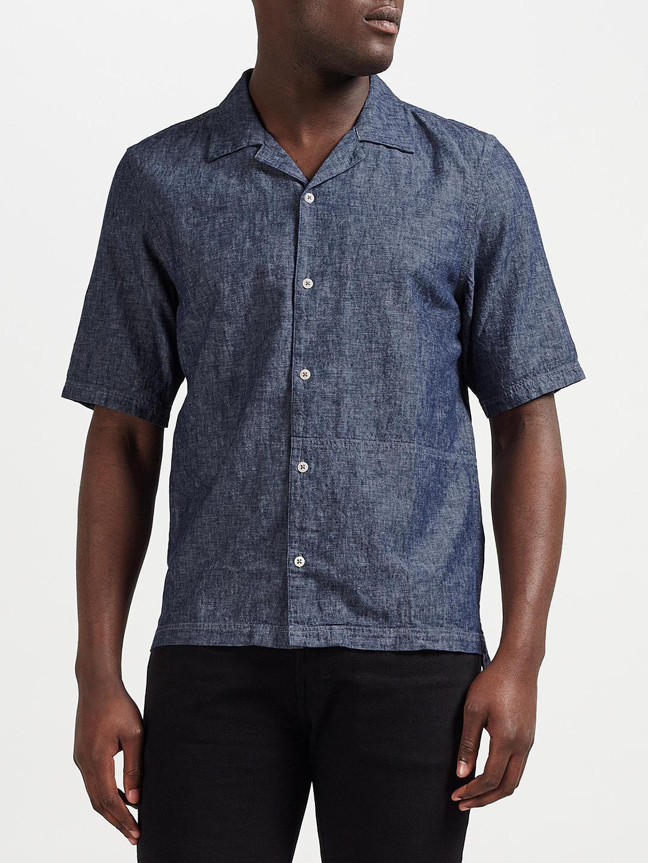 Denham Camp Linen-Blend Shirt CLCH, Indigo - BNWT SIze M - RRP