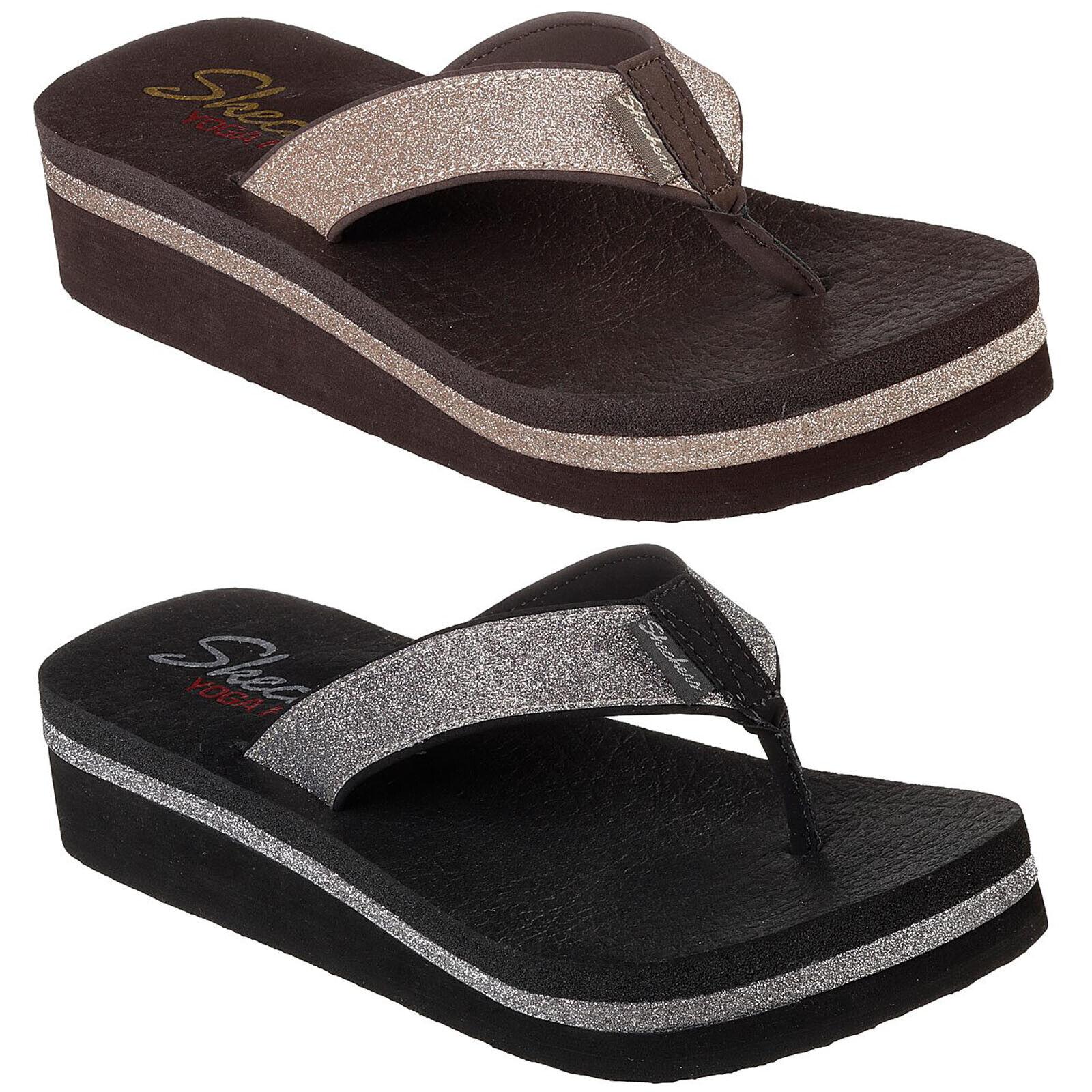 Skechers vinyasa-unicorn fog flip flops wedge thong sandals women's the finger