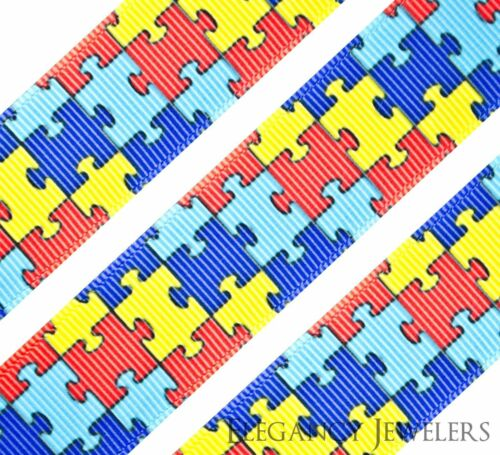 "High Quality 1/"" Autism Awareness Puzzle Printed Grosgrain Ribbon Hair Bow Cheer"