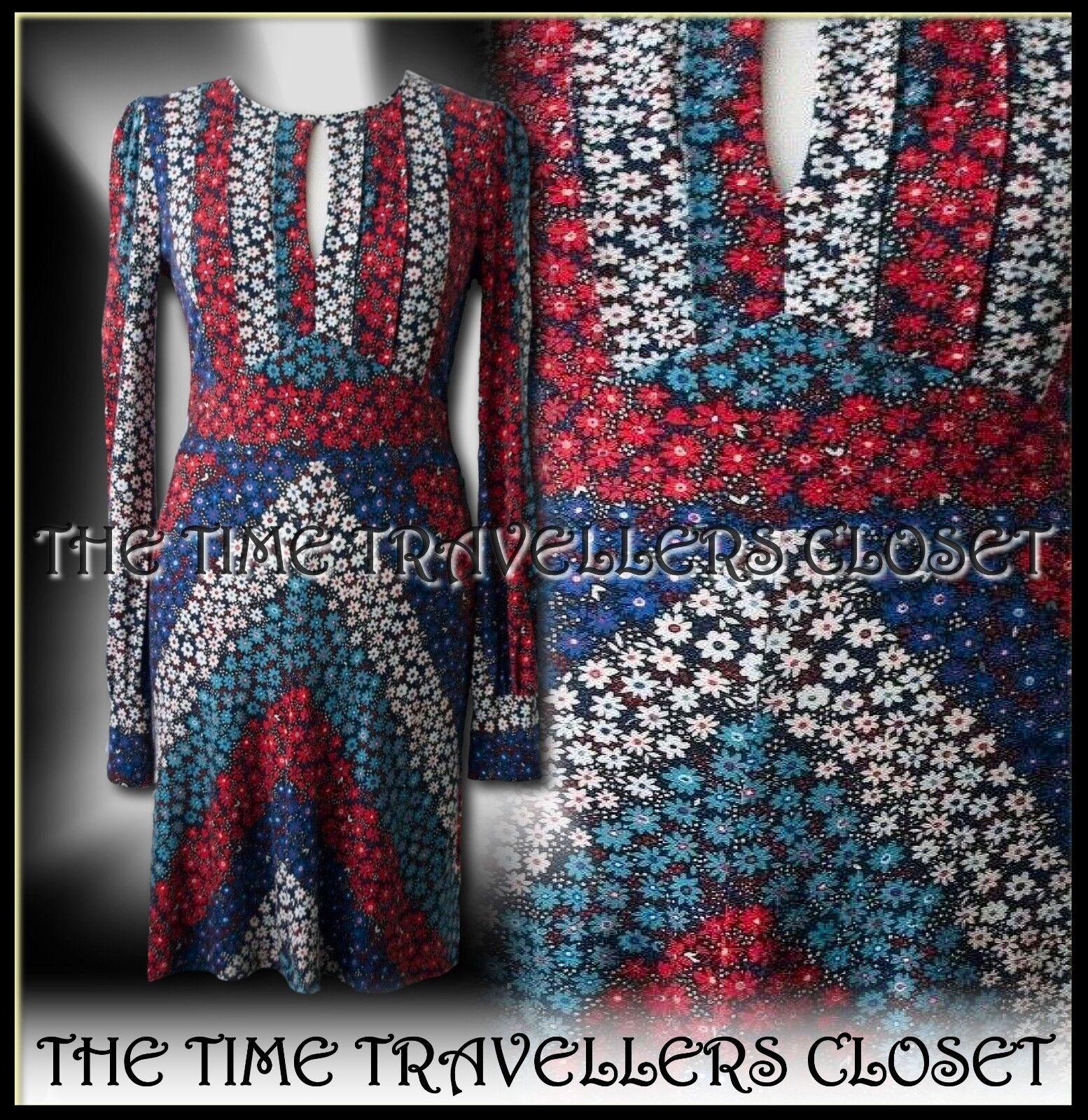 CELIA BIRTWELL Topshop rot Blau Floral 1940s WW2 Backless Pinup Tea Dress