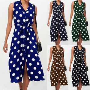 Fashion-Sleeveless-Polka-Dots-Button-Belt-Women-039-s-Skirt-Summer-Casual-Midi-Dress