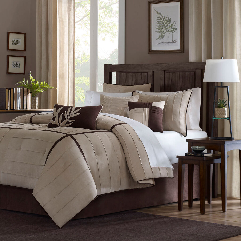 BEAUTIFUL MODERN ELEGANT BEIGE TAN CHOCOLATE braun KHAKI SOFT COZY COMFORTER SET