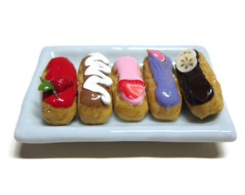 5 Loose Eclair With Iced Fruit on Tray Dollhouse Miniatures Food Bakery Pastry