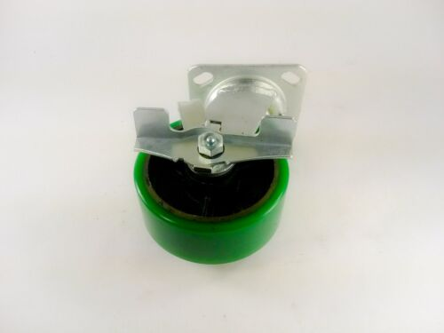 "6/"" x 2/"" Polyurethane On Cast Iron - Rigid 2EA 2EA /& Swivel with Brake Green"