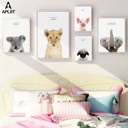 Animal Kids Nursery Canvas Print Lion Koala Elephant Poster Wall Art Home Decor