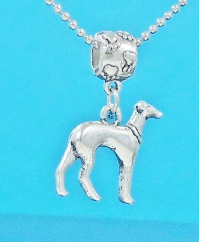 Adorable 3D Greyhound Dog Breed Slider Charm for Bracelet OR Necklace