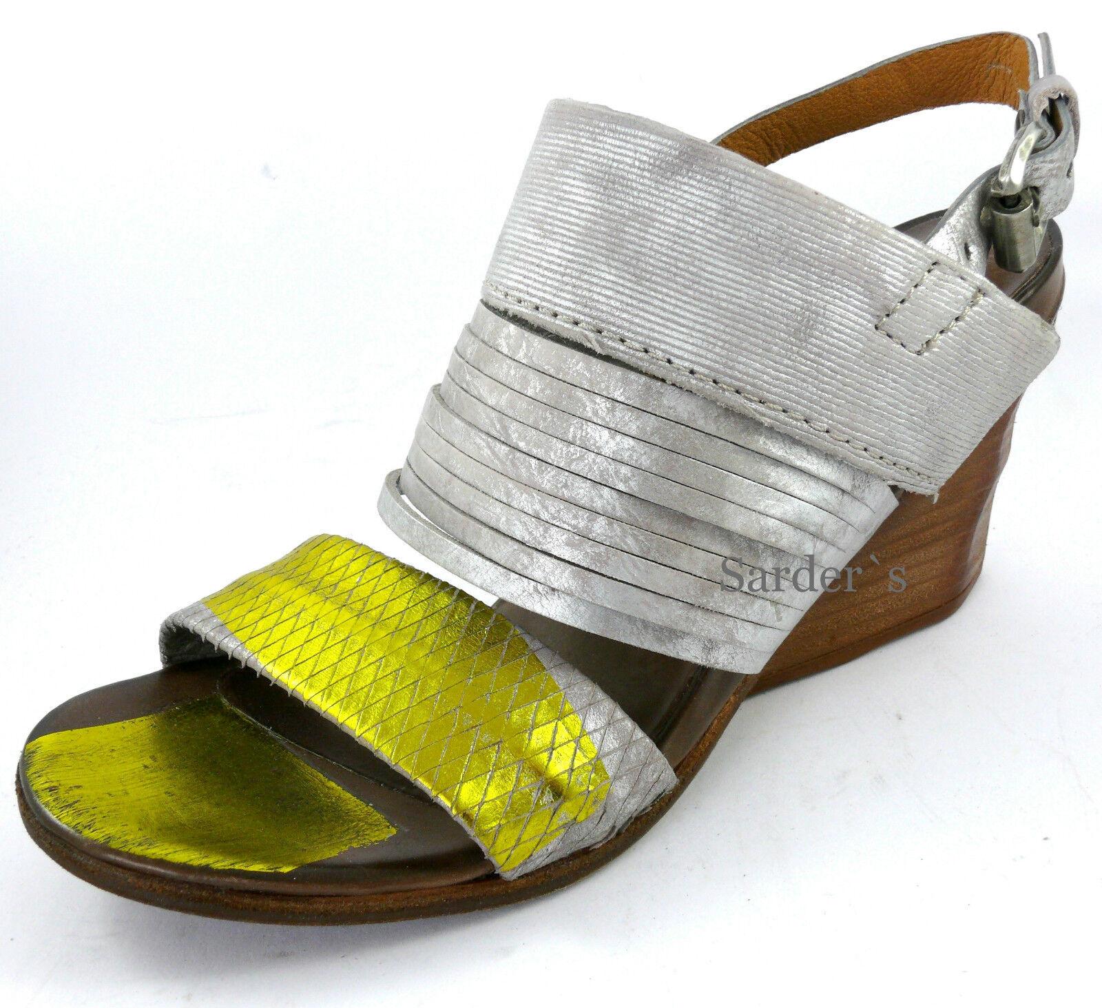 AIRSTEP A.S.98 Sandalette 36 LEDER Grau Gold Antik  Keilabsatz Sandale NEU