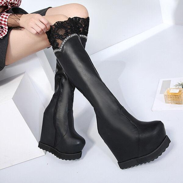 Zapatos especiales con descuento botas rodilla plataforma 15 cm cuña negro elegantes como piel 9551
