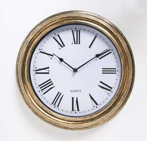 Large-Vintage-sttyle-Antique-Horloge-Murale-Shabby-Chic-Or