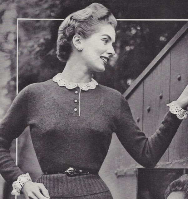 Vintage Knitting Pattern To Make Delicate Knit Blouse Crochet Lace Collar Cuffs