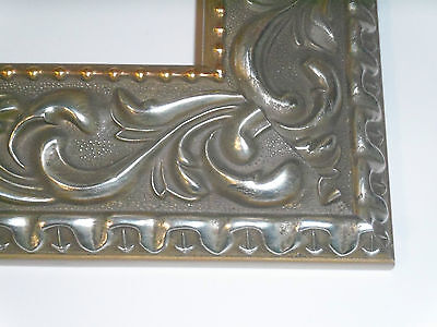"""2.8"""" Wide Elegant Silver Ornate Canvas Picture Frame-Custom Made Standard Sizes"""