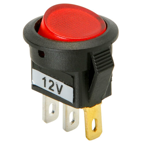 SPST Mini Round Rocker Switch w//Red Illumination 12VDC