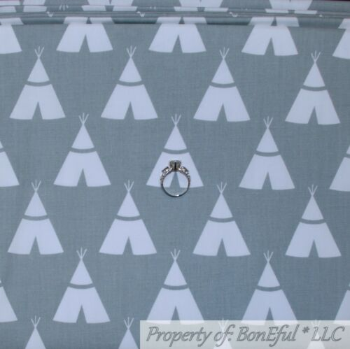 BonEful FABRIC FQ Cotton Quilt Gray White Teepee Tent Indian Stripe Aztec Boy US