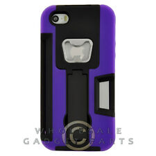 Apple iPhone 5/5S/SE Bottle Opener Hybrid Case w/ Stand - Purple Cover Shell
