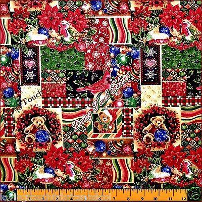 Fabri Quilt Christmas Poinsettia Birds Ornaments Fabric 1