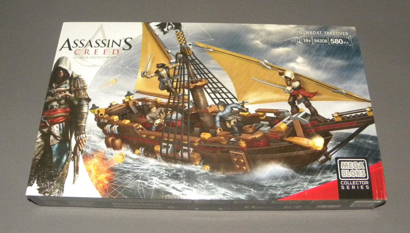 Assassin's Creed Mega Bloks Gunboat Takeover 94308 Ship Boat Collector Set NEW
