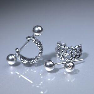 Silver-stud-filigree-flower-stainless-steel-earrings-huggies-cuff-screw-on