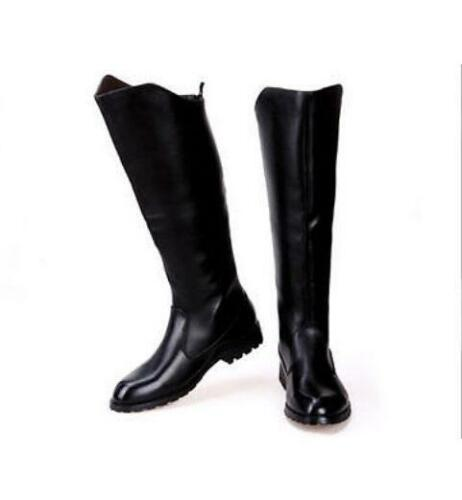 Ride Horse Mens Knee High  Boots PU Leather Army Back Zip Military Boots Shoes h