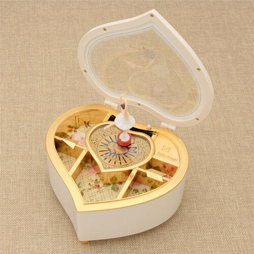 Spieldosen Spieldose Musikbox Tanzen Herz Form Mädchen Kind Geburtstag Geschenk Rosa Weiß